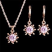Collar / pendientes Los sistemas nupciales de la joyería Juego de Joyas Moda Cosecha Ajustable Cristal Zirconio Blanco RosaCollares