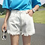 De las mujeres Pantalones Cortos / Vaquero-Simple Microelástico-Algodón