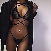 Para Mujer Lencería de Encaje Ropa de dormir,Sexy / Encaje Jacquard-Delgado Encaje Negro