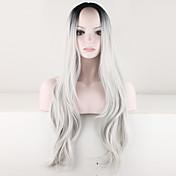 Mujer Pelucas sintéticas Sin Tapa Largo Rizado Gris Raíces oscuras Raya en medio Pelo Ombre Peluca de Halloween Peluca de carnaval Peluca