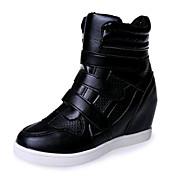Mujer Zapatillas de deporte Primavera Otoño Semicuero Casual Hebilla Tacón Cuña Blanco Negro 5 - 7 cms