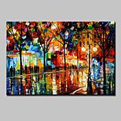 Pintada a mano Abstracto Paisaje Paisajes Abstractos Horizontal,Modern Un Panel Lienzos Pintura al óleo pintada a colgar For Decoración