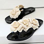 Žene Sandale Proljeće Ljeto PVC Ležeran Ravna potpetica Cvijet Crna Žuta Zelena Tamno crvena Badem Ostalo