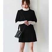 De las mujeres Vaina Vestido Noche Simple,Retazos Cuello Alto Sobre la rodilla Manga Larga Negro Algodón Primavera / Otoño