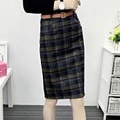 Mujer Faldas EscocésChic de Calle Casual/Diario Sobre la Rodilla Poliéster Micro-elástica Con Muelle