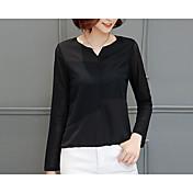 Mujer Simple Casual/Diario Otoño Camisa,Escote Redondo Un Color Manga Larga Algodón Blanco Negro Medio