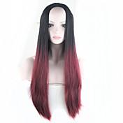 Mujer Pelucas sintéticas Sin Tapa Liso Fuxia Pelo Ombre Peluca de cosplay Las pelucas del traje