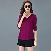 De las mujeres Simple Formal Verano Camiseta,Escote en Pico Un Color Manga Larga Algodón Azul / Rojo / Blanco / Negro / Marrón / Morado