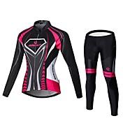 Malciklo Calça com Camisa para Ciclismo Mulheres Manga Comprida Moto Roupas de Compressão Meia-calçaSecagem Rápida Zíper Frontal Vestível