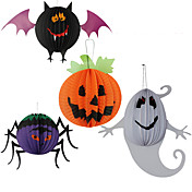 ハロウィーン仮装パーティーランダムな色のための3PC吊り提灯紙クモ