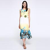 De las mujeres Línea A / Corte Ancho Vestido Boho Floral Maxi Escote Redondo Poliéster