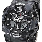 EXPONI Hombre Reloj Deportivo Reloj Militar Reloj de Moda Reloj de Pulsera CuarzoLED LCD Calendario Cronógrafo Resistente al Agua Dos