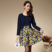 Mujer Línea A Vestido Trabajo / Tallas Grandes Vintage,Floral Escote Redondo Sobre la rodilla Manga Larga Azul Poliéster Primavera / Otoño