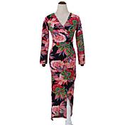 Mujer Corte Bodycon Vestido Casual/Diario Tejido Oriental,Floral Escote en Pico Midi Manga Larga Rojo Algodón Otoño Tiro Alto Rígido Medio