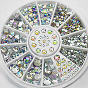混合サイズ白い結晶ネイルアートラインストーンアクリルABの宝石輝くマニキュアのデザイン