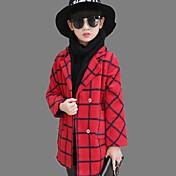 女の子の カジュアル/普段着 ストライプ ポリエステル,トレンチコート 冬 ブルー / レッド