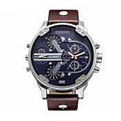 CAGARNY Hombre Reloj Militar Reloj de Moda Reloj de Pulsera Cuarzo Calendario Reloj Casual Piel Banda De Lujo Negro Marrón Negro Marrón