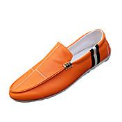 Hombre Zapatos PU Primavera Otoño Confort Zapatos de taco bajo y Slip-On Para Casual Blanco Negro Naranja
