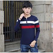 男性 カジュアル/普段着 秋 Tシャツ,シンプル ラウンドネック カラーブロック マルチカラー コットン 長袖 薄手