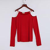 Mujer Chic de Calle Casual/Diario Otoño Camiseta,Con Tirantes Un Color Manga Larga Algodón Azul / Rojo / Blanco / Marrón Fino