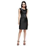 Vaina / columna cuello en V rodilla vestido de fiesta de raso de longitud con flor de ts couture ®