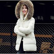 Abrigo Regular Acolchado Mujer Simple Casual/Diario / Tallas Grandes,Un Color / Estampado Poliéster Poliéster Escote Redondo Manga Larga,