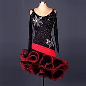 Baile Latino Vestidos Actuación Licra Encaje Organza Volantes 1 Pieza Mangas largas Cintura Alta Vestido