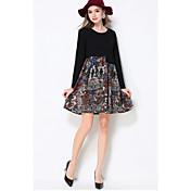 Mujer Corte Swing Vestido Noche / Casual/Diario / Tallas Grandes Simple / Boho / Bonito,Un Color / Estampado / Bloques Escote Redondo