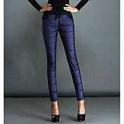 Mujer Tallas Grandes Vaqueros Pantalones,Un Color Casual/Diario Sencillo Tiro Alto Algodón Eslático Invierno