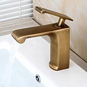 Tradiční centerset keramický ventil singl rukojeť jedna díra s mosaznou starožitný koupelna Umyvadlová baterie