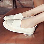 Mujer-Tacón Plano Plataforma-Plataforma-Zapatos de taco bajo y Slip-Ons-Informal-Microfibra-Negro Blanco