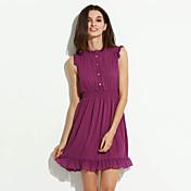 De las mujeres Gasa Vestido Noche / Tallas Grandes Simple,Un Color Escote Redondo Mini Sin Mangas Rojo / Morado Poliéster Verano