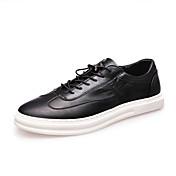 Hombre-Tacón Plano-Confort-Zapatillas de deporte-Informal-Cuero de Napa-Negro Blanco