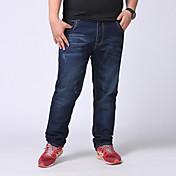 Hombre Pantalones Vaquero-Simple Microelástico-Algodón / Poliéster