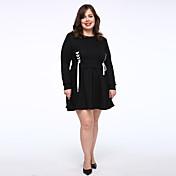 女性 シンプル カジュアル/普段着 / プラスサイズ Tシャツ ドレス,ソリッド ラウンドネック 膝上 ブラック コットン ミッドライズ マイクロエラスティック ミディアム
