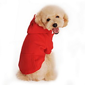 ネコ 犬 パーカー 犬用ウェア カジュアル/普段着 スポーツ 純色 ブラック オレンジ グレー レッド グレイ/レッド