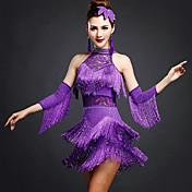Baile Latino Vestidos Mujer Entrenamiento Rayón Espándex Encaje Cuentas 3 Piezas Sin mangas Cintura Media Vestido Pulseras