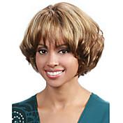 krátké vlnité vlasy paruka s ofinou hnědé a blond barva syntetické paruky pro ženy