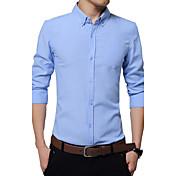 Hombre Simple / Chic de Calle Formal / Trabajo / Tallas Grandes Otoño / Invierno Camisa,Escote Cuadrado Un Color Manga Larga AlgodónAzul
