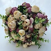 """Bouquets de Noiva Redondo Rosas Peônias Buquês Casamento Festa / noite Cetim 9.06""""(Aprox.23cm)"""