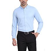 Hombre Simple Casual/Diario / Formal / Trabajo Otoño Camisa,Cuello Camisero Un Color / A Lunares Manga Larga Rayón / PoliésterAzul /