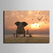 Moderno/Contemporáneo Animales Reloj de pared,Rectangular Lienzo35 x 50cm(14inchx20inch)x1pcs/ 40 x 60cm(16inchx24inch)x1pcs/ 50 x