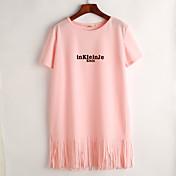 婦人向け シンプル カジュアル/普段着 Tシャツ ドレス,プリント ラウンドネック 膝上 半袖 ピンク / ホワイト / ブラック ポリエステル 夏