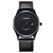 CAGARNY Hombre Reloj de Moda Reloj de Pulsera Cuarzo Calendario Piel Banda Cool Casual Negro Negro Negro/Rojo Negro/Blanco
