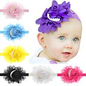 ヘアアクセサリー幼児のヘアバンドtodder真珠の花のヘッドバンドシフォン13pcs /セット赤ちゃんの女の子