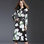 Mujer Vaina Vestido Casual/Diario Vintage,Floral Cuello Camisero Midi Manga Larga Blanco Poliéster / Nailon Otoño Tiro Medio Rígido Medio
