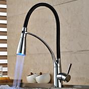 現代的なクローム仕上げの色の変化台所の蛇口を取り付けられた光引き出しスプレーデッキを主導