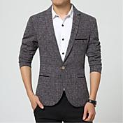 Hombre Simple Casual/Diario / Trabajo Primavera / Otoño Blazer,Solapa de Pico A Cuadros Manga Larga Nailon Azul / Gris Medio