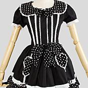 Una Sola Pieza/Vestidos Amaloli Rococó Cosplay Vestido  de Lolita Un Color Manga Corta Hasta la Rodilla Vestido por Algodón