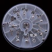 12pcs liga de beleza mix diy pingente de prego roda 8 centímetros de strass nail art decoração